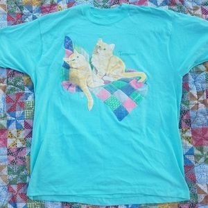 VTG Cat Tennessee Kitten Blue Thin T-shirt XL